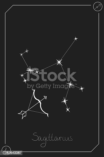 Sagittarius horoscope card with constelation, zodiac sign and a patronizing planet. Hand drawn vector illustration on dark background. Taro card.