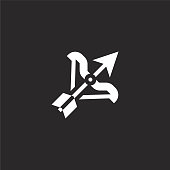 sagittarius icon. Filled sagittarius icon for website design and mobile, app development. sagittarius icon from filled esoteric collection isolated on black background.
