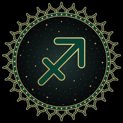 Sagittarius zodiac sign, astrological, horoscope symbol. ethnic graphic arrow.