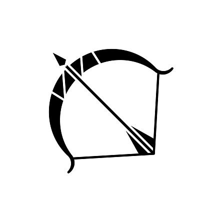Sagittarius zodiac sign black glyph icon