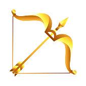 Sagittarius zodiac sign, golden horoscope symbol. Stylized astrological illustration.