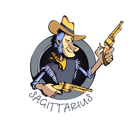 Sagittarius zodiac sign man flat cartoon vector illustration. Western cowboy with gun, astrological horoscope symbol. Ready to use 2d character for commercial, printing design. Isolated concept icon