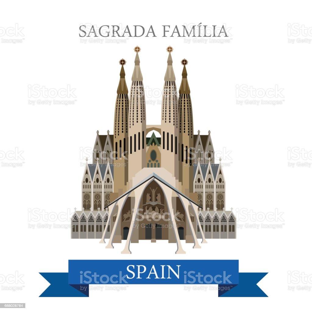 Sagrada Familia Gaudi Basilica Temple Holy Family in Barcelona Spain. Flat cartoon style historic sight web illustration world countries vacation travel tourist sightseeing collection vector art illustration