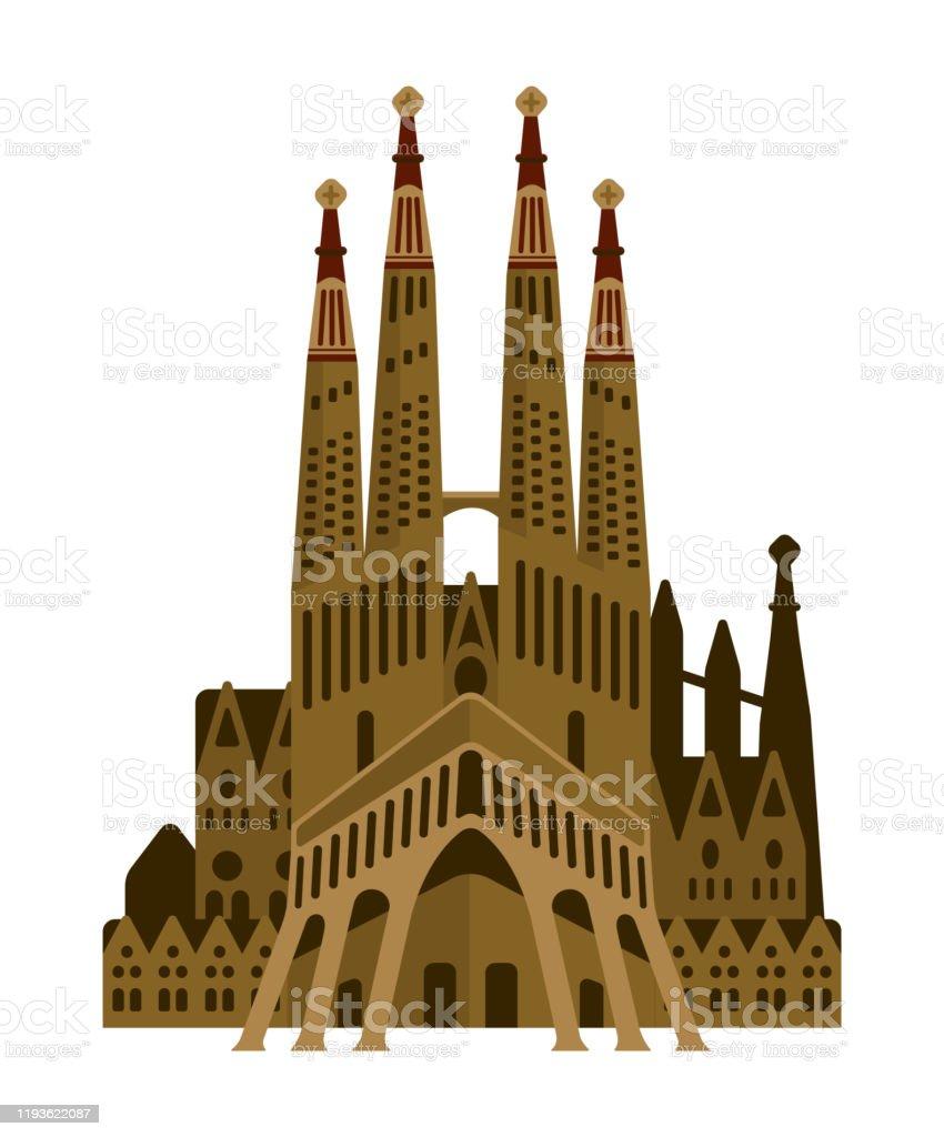 サグラダファミリア スペイン世界的に有名な建物のベクトルイラスト アントニ ガウディのベクターアート素材や画像を多数ご用意 Istock