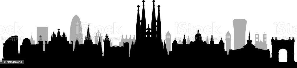 Sagrada Familia (todos los edificios son completa y móvil) - ilustración de arte vectorial