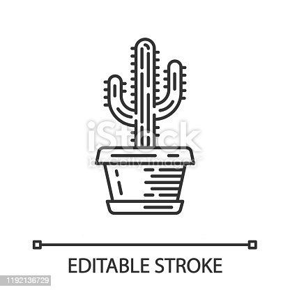 Saguaro cactus in pot linear icon. Arizona state wildflower. Mexican tequila cactus. House and garden plant. Thin line illustration. Contour symbol. Vector isolated outline drawing. Editable stroke