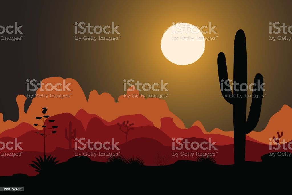 Saguaro cactus tree in night desert vector art illustration