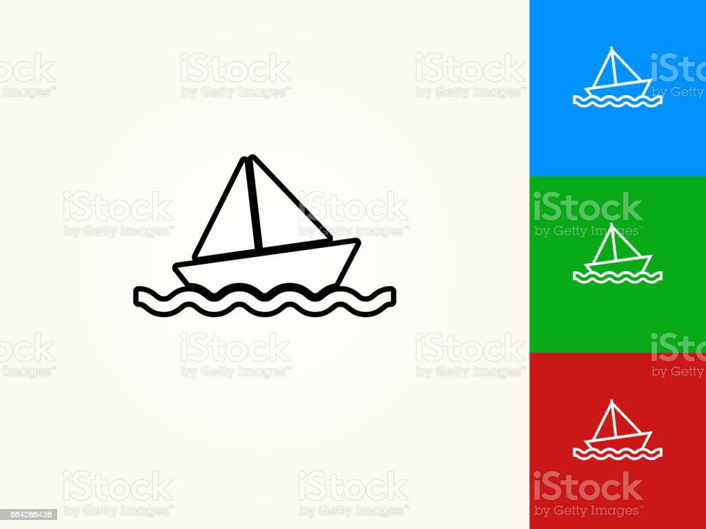 Sail Boat Black Stroke Linear Icon royalty-free sail boat black stroke linear icon stock vector art & more images of black color
