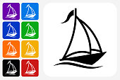 Sail Boat Icon Square Button Set. The icon is in black on a white square with rounded corners. The are eight alternative button options on the left in purple, blue, navy, green, orange, yellow, black and red colors. The icon is in white against these vibrant backgrounds. The illustration is flat and will work well both online and in print.