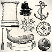 """Old World Sailing Discovery Nautical Equipment. Pen and ink style illustration of Old World Sailing Discovery Nautical Equipment. Check out my """"Ships, Sailing & Sea"""" light box for more."""