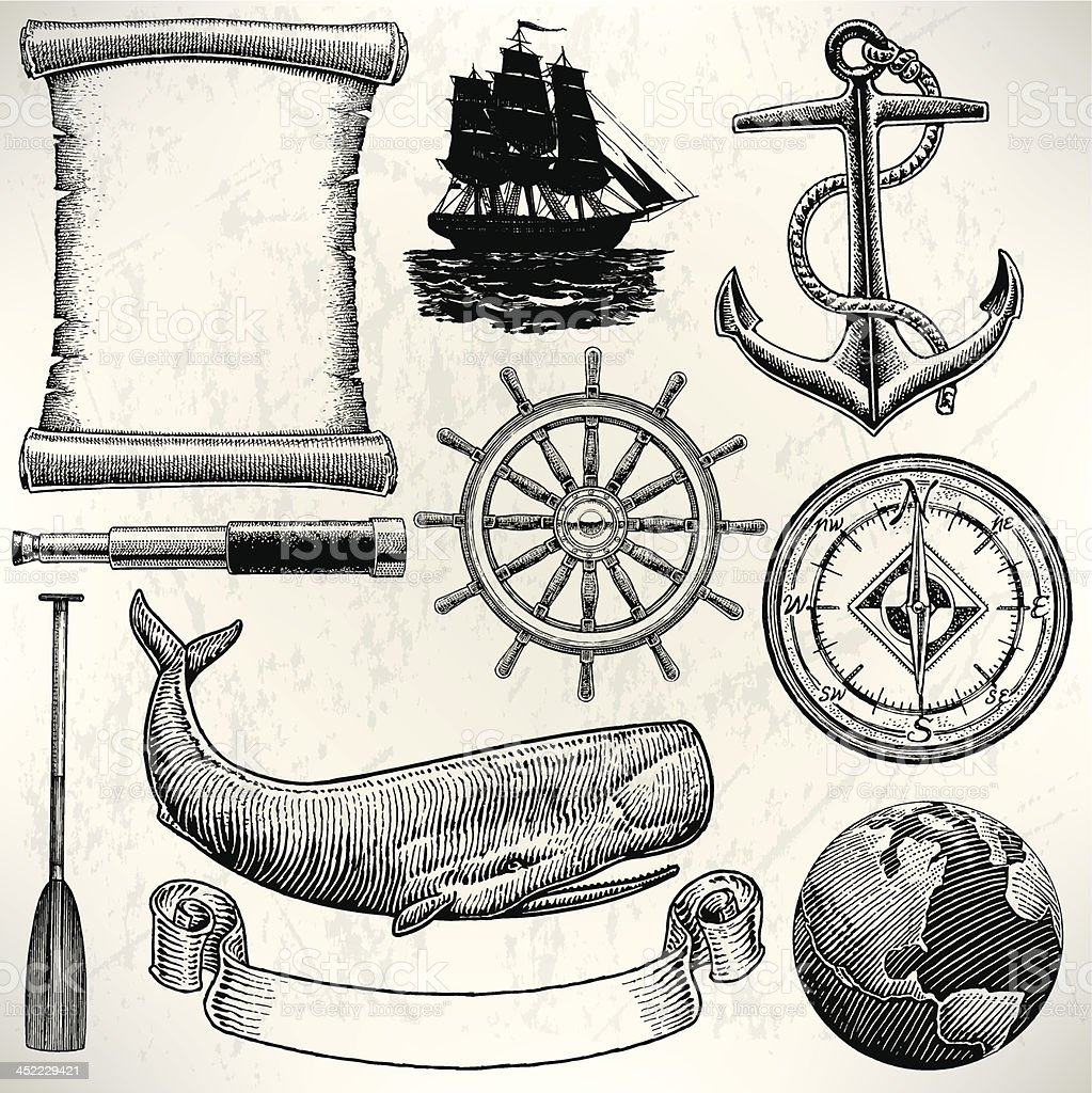 Sail Boat - Old World Sailing Discovery Nautical Equipment vector art illustration