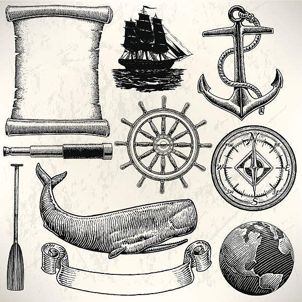 stockillustraties, clipart, cartoons en iconen met sail boat - old world sailing discovery nautical equipment - paddle