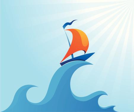 Sail boat on high ocean wave illustration