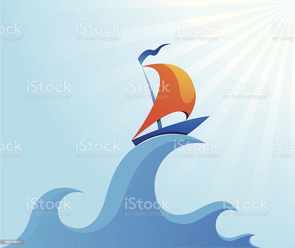 Segelboot auf high ocean wave Illustrationen – Vektorgrafik