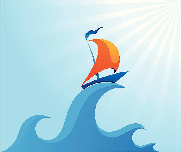 Sail boat on high ocean wave illustration little ship riding a high waves sail stock illustrations