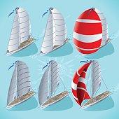 Sail Boat Set 01 Vehicle Isometric