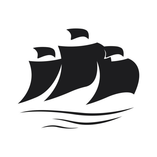 Sail icon on white background Vector illustration of Sail icon on white background pirate ship stock illustrations
