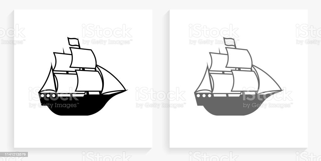 Sail Ship Black and White Square Icon. This 100% royalty free vector...