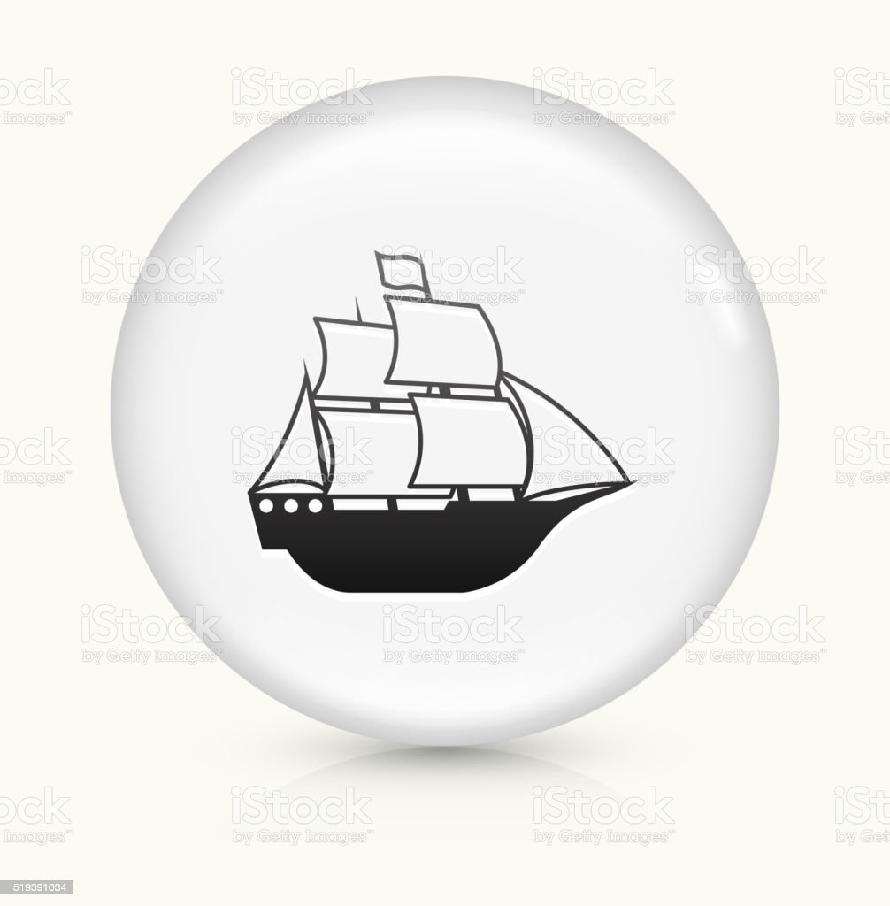 Sail Ship icon on white round vector button vector art illustration