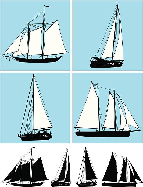 Sail Ship Icons ( Vector ) Modern and retro sail ships. svg stock illustrations