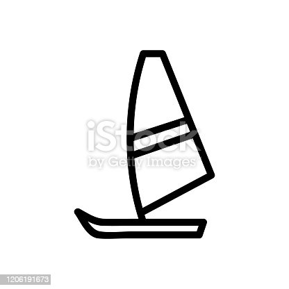 istock Sail the boat icon vector. Isolated contour symbol illustration 1206191673