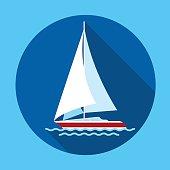 Sail Yacht Boat Flat Icon Vector