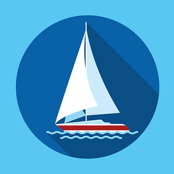 Sail Yacht Boat Flat Icon Vector vector art illustration