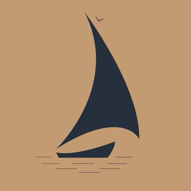 segelboot am meer seelandschaft symbol - segeln stock-grafiken, -clipart, -cartoons und -symbole