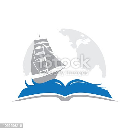 book, sailboat and globe in behind