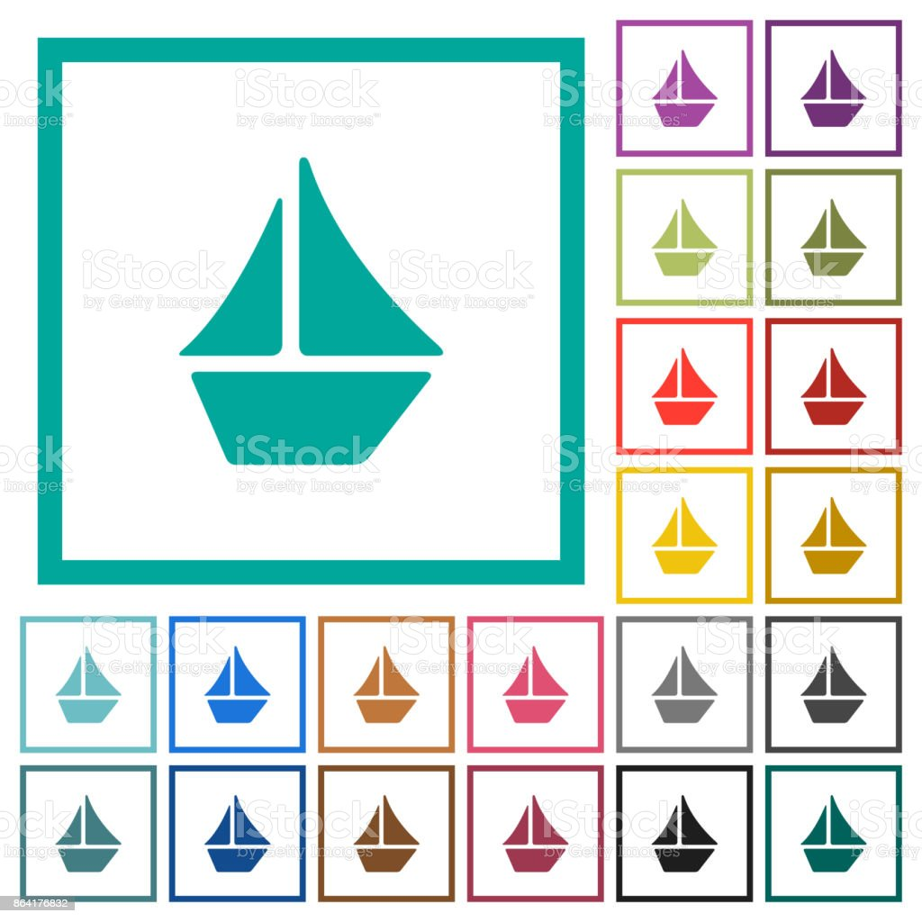 Sailboat flat color icons with quadrant frames royalty-free sailboat flat color icons with quadrant frames stock vector art & more images of arts culture and entertainment