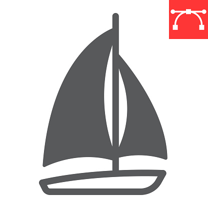 Sailboat glyph icon, ship and travel, boat vector icon, vector graphics, editable stroke solid sign, eps 10.