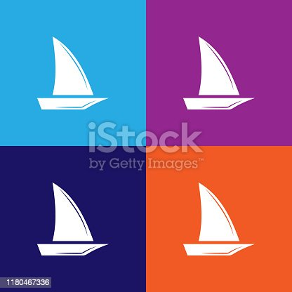 sailboat icon. Elements of travel illustration icons. Signs, symbols can be used for web, logo, mobile app, UI, UX on colored background
