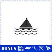 Sailboat icon flat