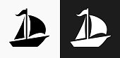 istock Sailboat Icon on Black and White Vector Backgrounds 814106236