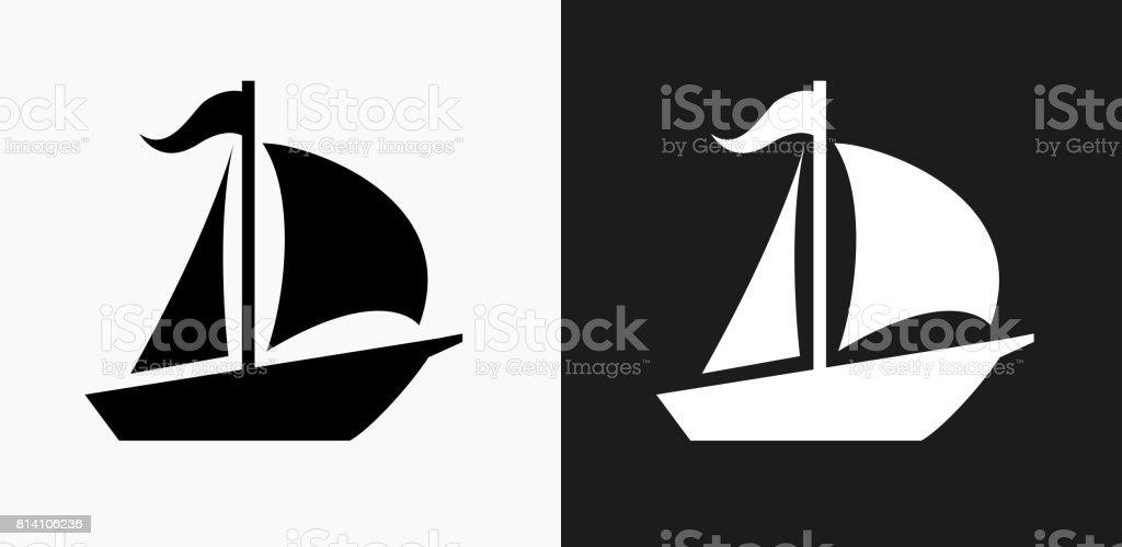Icône de voilier sur noir et blanc Vector Backgrounds - Illustration vectorielle