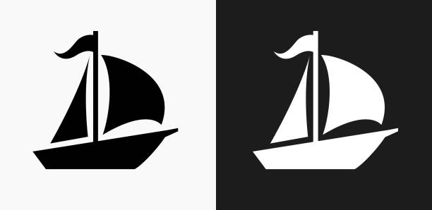 Sailboat Icon on Black and White Vector Backgrounds vector art illustration