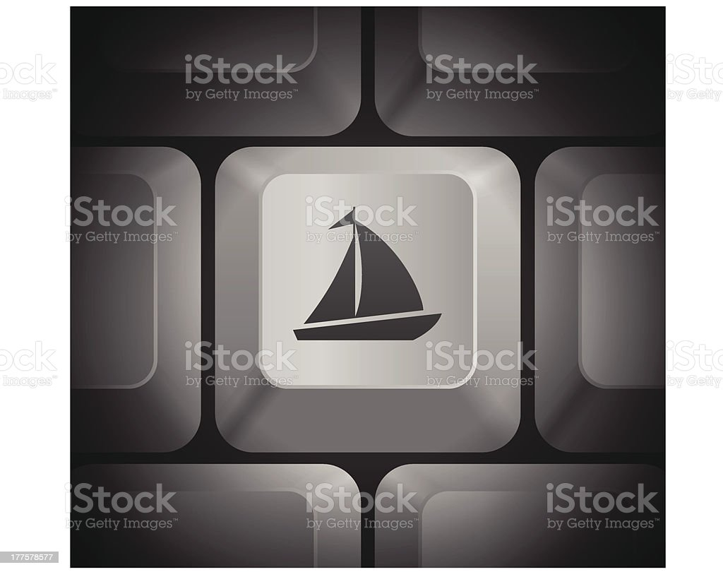 Sailboat Icon on Computer Keyboard royalty-free stock vector art