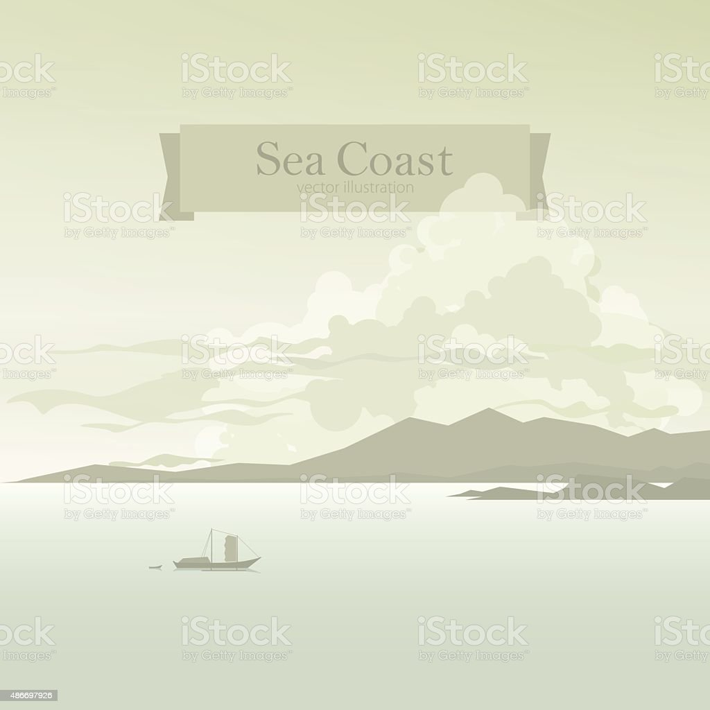 Sailboat in the Bay vector art illustration