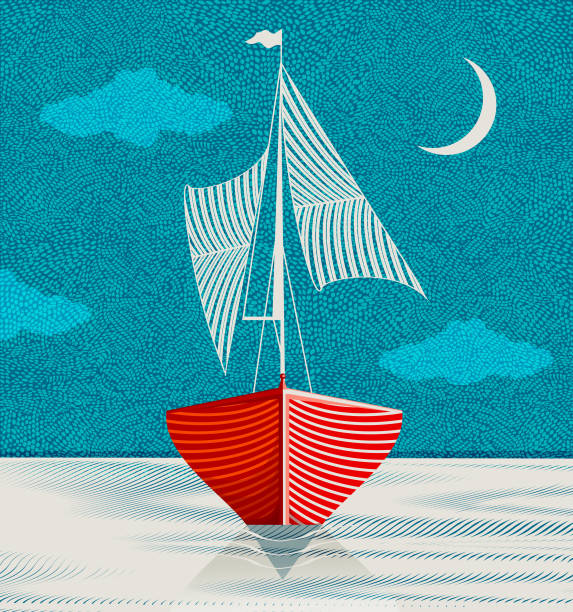 Sailboat in the middle of the night Exploring the inner and outer world on a quiet summer night. sail stock illustrations