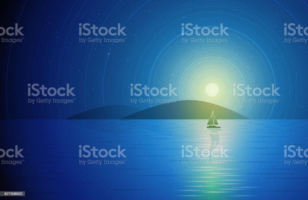 Sailboat in the night. vector art illustration