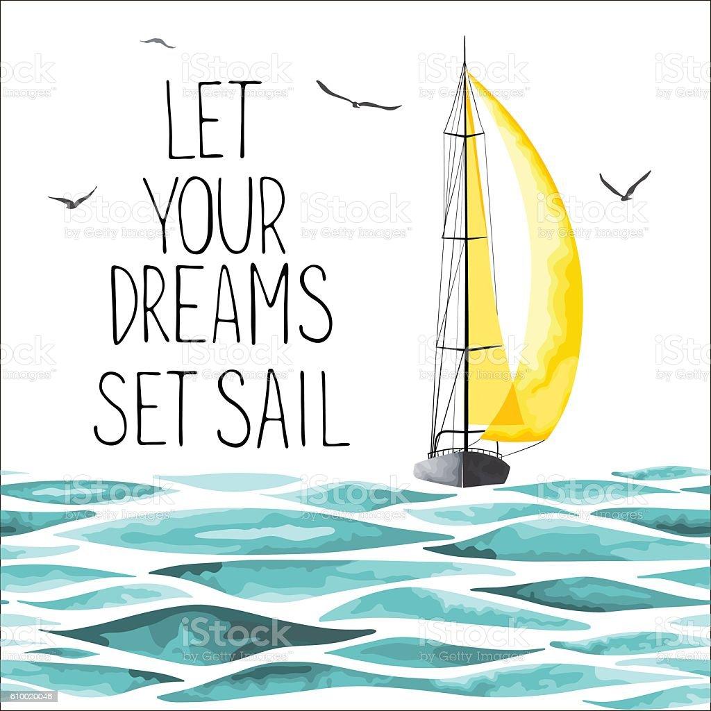 ヨットでは、周辺の海とかもめます。 ベクターアートイラスト