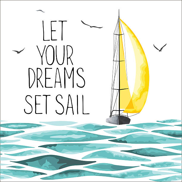 Sailboat in the sea and seagulls around. vector art illustration