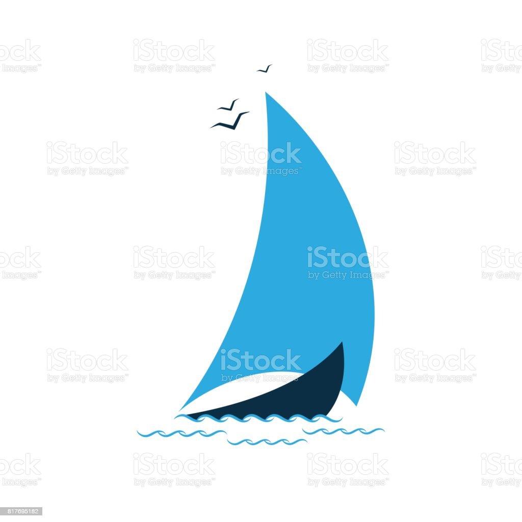 海の帆船。観光会社のコンセプト ベクターアートイラスト