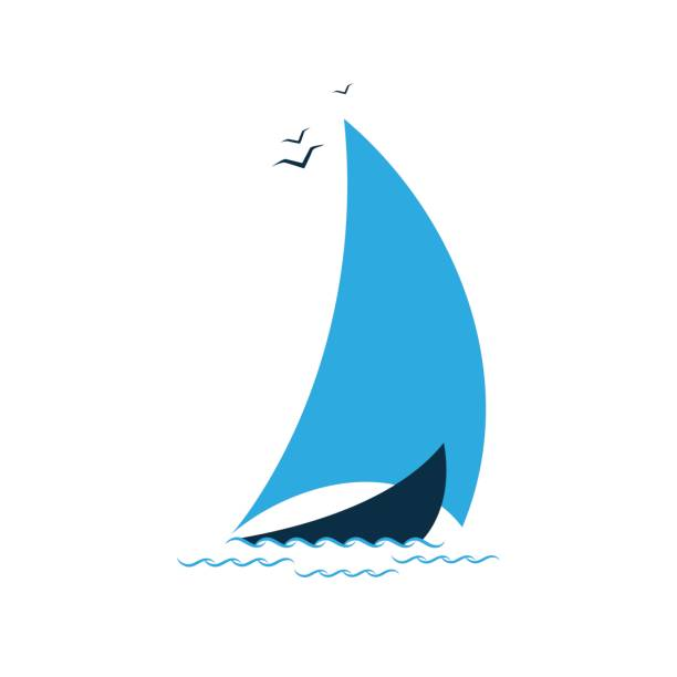 Sailboat in the sea. Concept for the tourist company vector art illustration