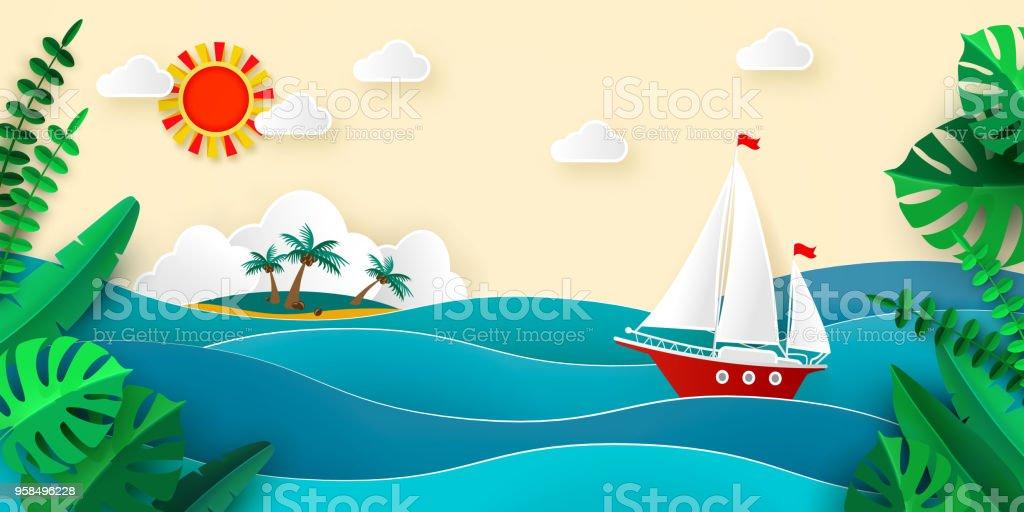 Ilustración de Velero En El Mar De Nubes De Sol Tropical Isla Papel ...
