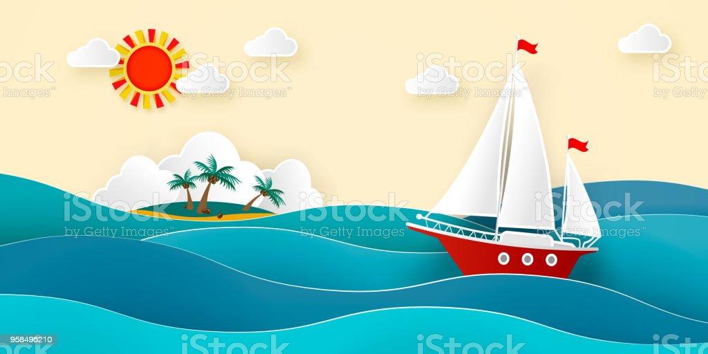 Ilustración de Velero En El Mar Sol Nubes Isla Tropical Con Una ...