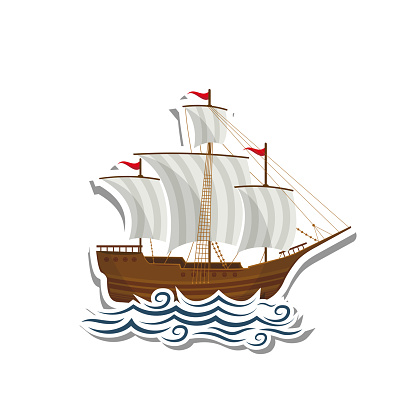 Sailboat label paper sticker on white background. Vector