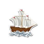 Sailboat label paper sticker on white background. Vector illustration. EPS10