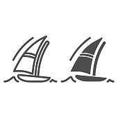 Sailboat line and solid icon, Summer vacation concept, Boat and sea wave sign on white background, yacht icon in outline style for mobile concept and web design. Vector graphics