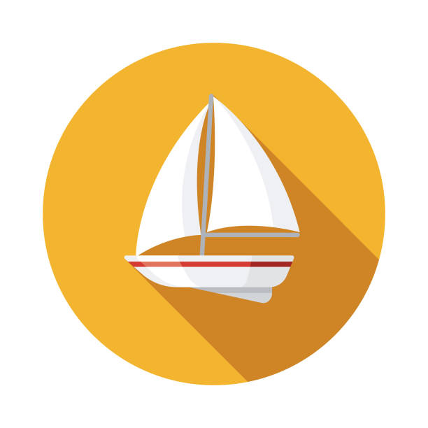 Sailboat Nautical Flat Design Icon A flat design icon with a long shadow. File is built in the CMYK color space for optimal printing. Color swatches are global so it's easy to change colors across the document. sailboat stock illustrations